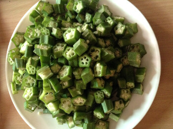 chopped bhindi - okra
