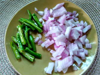 chopped onion and green chilies
