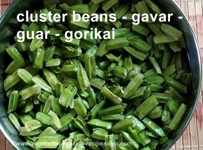 cluster beans/gavar,threads removed and broken by hand
