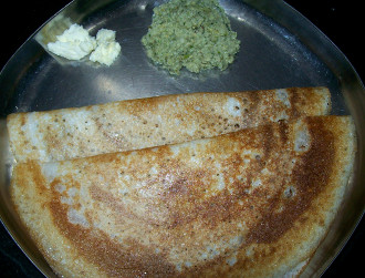 Dosa with coconut chutney, butter