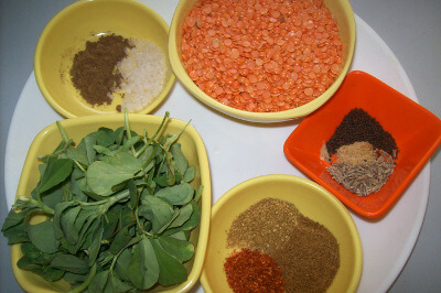 fenugreek - methi dal ingredients