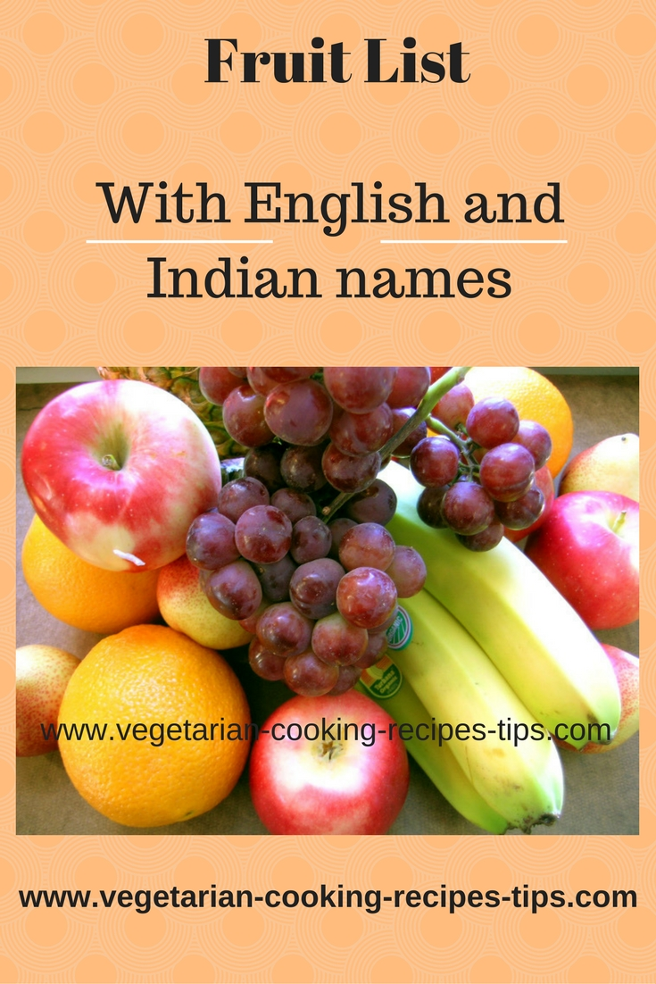 Fruit list - List of fruits with fruit names in english and