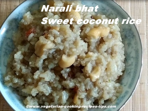 Narali bhaat - sweet coconut rice pudding with jaggery