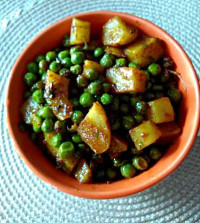 Dry aloo matar - potato green peas subji