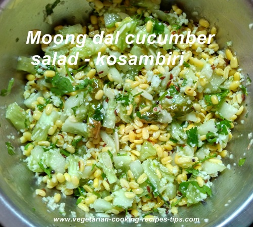 Moong dal cucumber salad