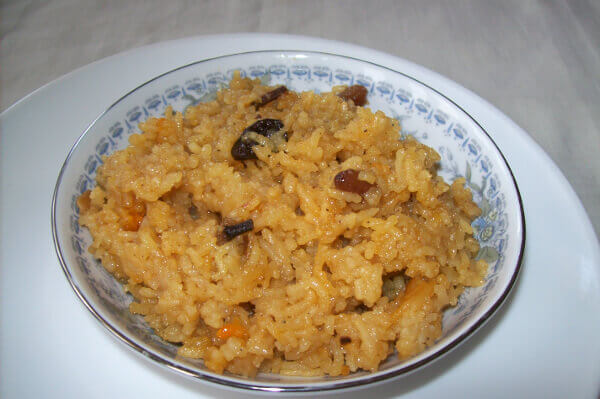 Narali bhaat - sweet coconut rice pudding