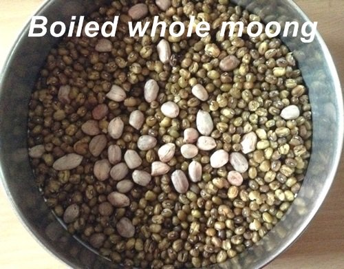 boiled whole moong and peanuts