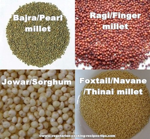 types of millet - sorghum, finger, foxtail,pearl