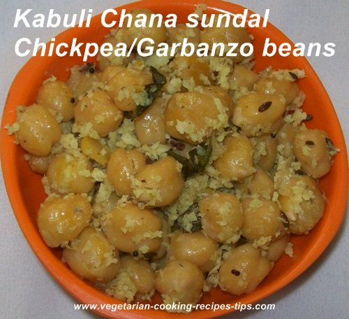 Stir fried Chickpeas -  Garbanzo beans - Kabuli Chana sundal